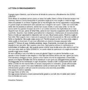 lettera di ringraziamento di anselmo da Trapani che si è liberato dai debiti con la legge 3 del 2012
